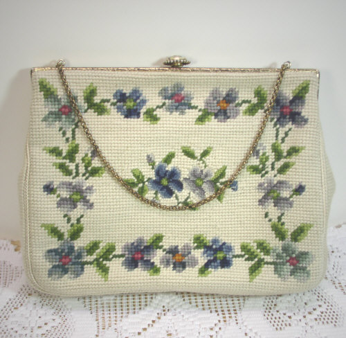 Christines Custom Made by Hand Floral Needle Point Hand Bag Vintage