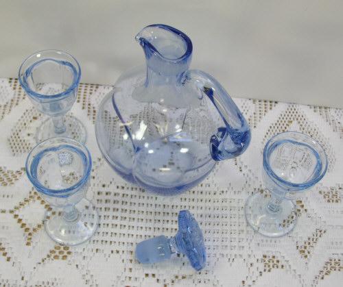 Paden City Glass Melon Ice Blue Liquor Pitcher Decanter Set w 3 Cordial Stems